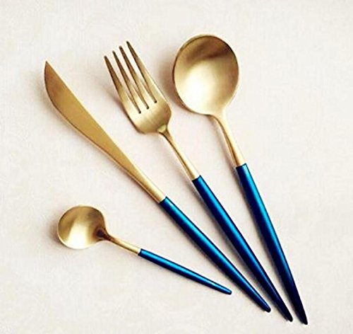 Royal Design 48 Pieces Stainless Steel Flatware Set Knife Fork Dinner Soup Spoon Dessert Tea Server for Home Kitchen Restaurant Hotel (Blue Gold)