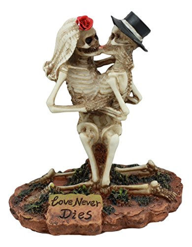 Ebros Love Never Dies Wedding Skeleton Hot Couple Making Out Statue 4.5