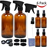 #1: 6 Pack Amber Glass Spray Bottles, 2 Pack 16 oz Empty Amber Spray Bottles and 4 Pack 2 oz Glass Amber Spray Bottles for Essential Oils
