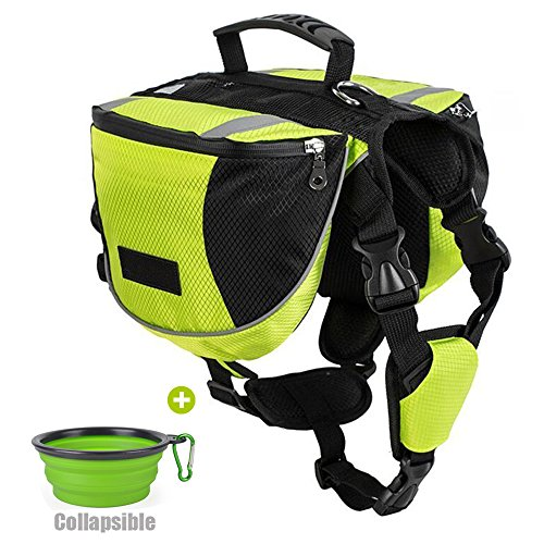 Lifeunion Polyester Dog Saddlebags Pack Hound Travel Camping Hiking Backpack Saddle Bag for Small Medium Large Dogs with Collapsible Pet Food Bowl (M, Neon Green+Bowl)