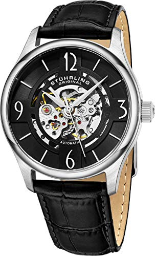 "Stuhrling Original Mens""Specialty Atrium"" Skeleton Automatic Self Winding Dress Watch with Premium Leather Band"