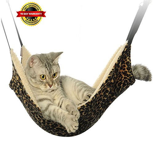 Meetest Pet Cage Hammock Use with Cage or Chair – Mice,Ferret Chinchilla Kitten,Bunny,Hamster,Rabbit Pets Bed,and Rest Pad Leopard Print Design with Fleece Interior Reversible 2 Sides