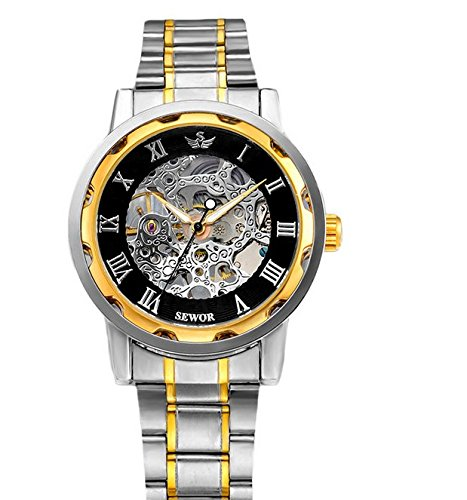 The brand of mechanical speed sold pass eBay explosion models SEWOR genuine hollow men mechanical watches Steel Watch: Amazon.es: Relojes