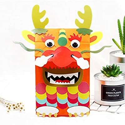TOYANDONA Paper Bag Puppets Crafts Kits Animal Hand Puppets Dragon Toys Party Favors Party Goodie Bag Fillers for Kids Children Birthday Presents: Toys & Games