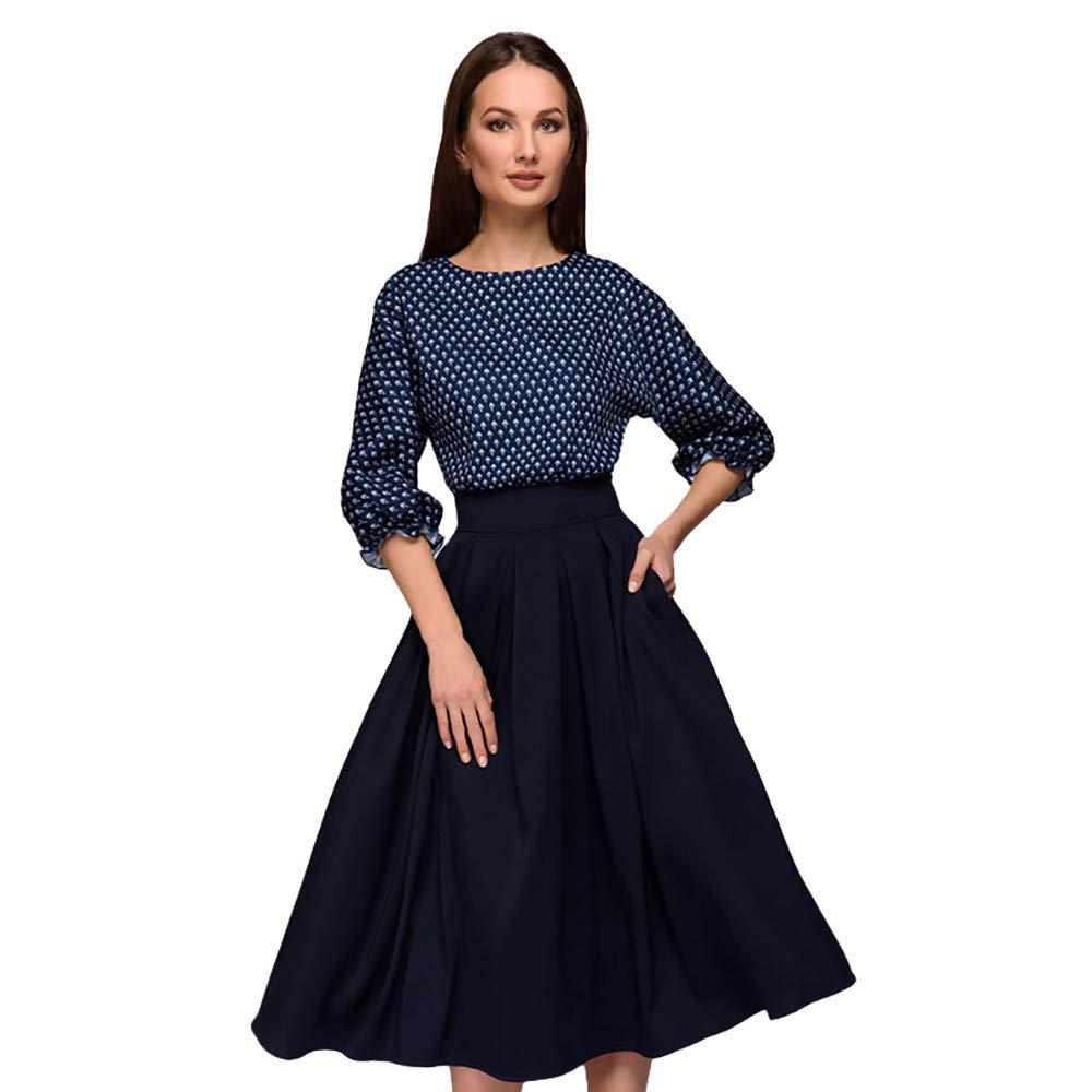 Amazon.com : Elogoog Women Vintage 3/4 Sleeve Print Polka Dot Dress Pleated A line Patchwork Casual Party Dresses : Sports & Outdoors