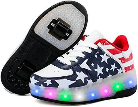Boys Girls USB Rechargeable LED Light up Roller Shoes with Double Wheels Skate Sneaker with Free Hair Bow Clips or Hand Spinner Gift