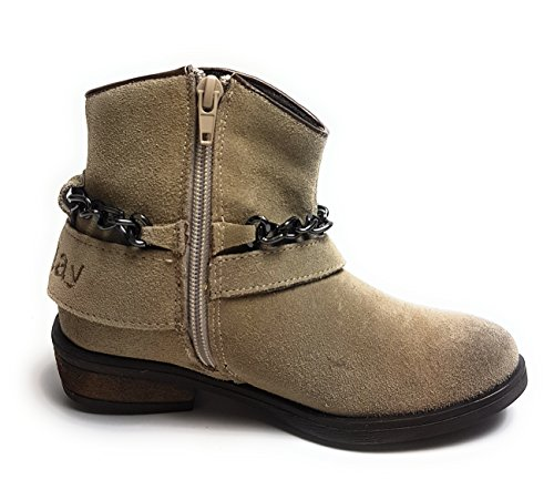 Replay Kingston Mädchen Schuhe - Stiefel - Stiefeletten - Damen Women Boots Echtleder Taupe/Beige - Gr. 39 EU