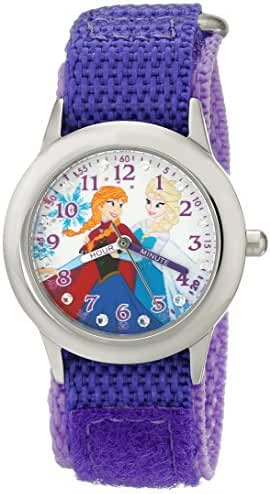 Disney Kids' W001936 Elsa and Anna Stainless Steel Time Teacher Watch with Purple Band