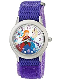 Kids' W001936 Elsa and Anna Stainless Steel Time Teacher Watch with Purple Band