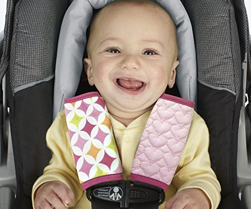 Nuby Quilted Strap Covers, Pink, Reversible, Infant Car Seat Strap