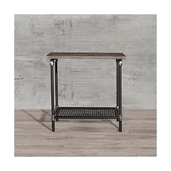Starsong Retro Antique Industrial Vintage Style End Night Coffee Table/Tool Stand with Storage Shelf 5