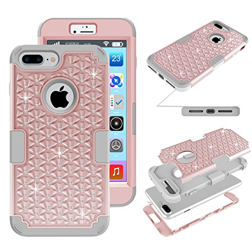 iPhone 7 Plus Glitter Case, Kecko Shockproof Slim Fit Rhinestone Bling Crystal Hybrid Armor Drop Protection Tough Rugged Case Impact Resistant Cover for iPhone 7 Plus (Rose Gold)