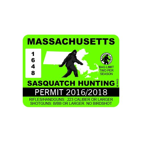 RDW Massachusetts Sasquatch Hunting Permit - Color Sticker - Decal - Die Cut