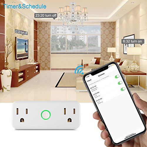 NEXGADGET 10A/1200W Wi-Fi Smart Plug, Dual Outlet Mini Socket with Separated Remote Control,Timing Switch with Energy Monitoring-Works with Alexa and Google Home,No Hub Required-2Pack by NEXGADGET (Image #3)
