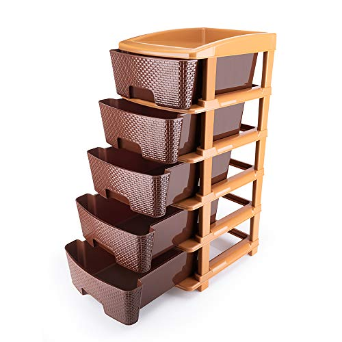 Primelife Plastic Modular Drawer 5 Tier Organisers, Drawers for Storage, for Office, Home, Multiple use Colour Dark Brown – Large (5XL, Brown)