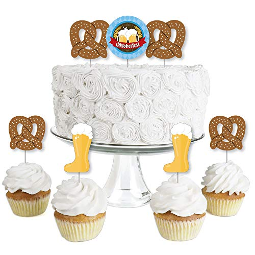 Oktoberfest - Dessert Cupcake Toppers - German Beer Festival Clear Treat Picks - Set of 24 ()