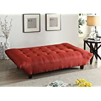 Major-Q Red Linen Convertible/Adjustable Futon Couch Sofa Bed for Living Room (7057250)