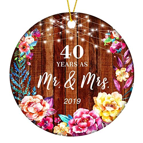 40 Years As Mr. & Mrs. Christmas Ornament Keepsake Gift 40th Married Wedding Anniversary Parents Present Christmas Tree Ornaments - 3 inches Flat Circle Ceramic with Gift Box