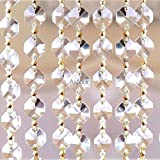 Asfour Chain of 52-14mm Octagon Crystals-Gold Bow Ties