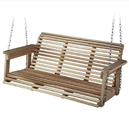 Pleasant Top Quality555 Front Porch Hanging Swing Chair 2 Seat Outdoor Patio Deck Hanging Bench Unfinished Solid Wood Alphanode Cool Chair Designs And Ideas Alphanodeonline