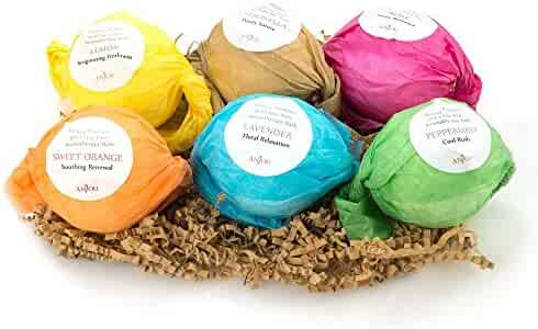 Anjou Bath Bombs Gift Set, 6 x 3.5 oz Colorless Bath Bombs Kit for Kids, Best for Aromatherapy, Relaxation, Moisturizing with Organic & All Natural lush Essential Oils, Jojoba Oil, Shea Butter