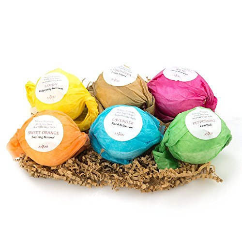 Anjou Bath Bombs Gift Set, 6 x 3.5 oz Colorless Bath Bombs Kit for Kids, Best for Aromatherapy, Relaxation, Moisturizing with Organic & All Natural lush Essential Oils, Jojoba Oil, Shea Butter (Pleasures Bath Gift)