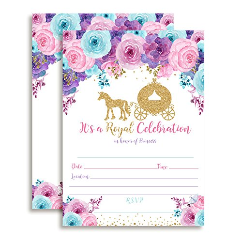 Watercolor Floral Gold Glitter Princess Carriage Birthday Party Invitations for Girls, 20 5