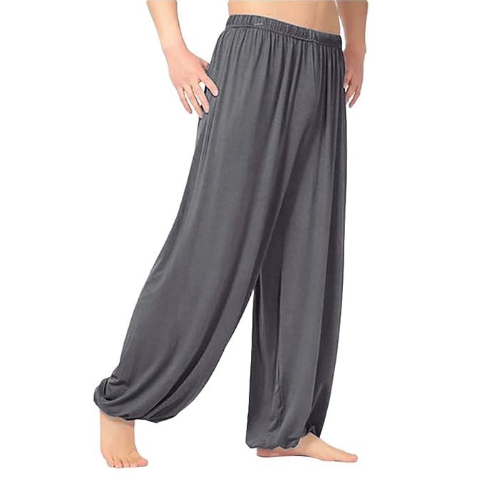 PARVAL Pantalones de Linterna Casuales de los Hombres Pantalones de chándal Baile Pantalones de Yoga Pantalones Harem Casuales Gimnasio Recto Color ...
