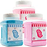 The Candery Cotton Candy Floss Sugar 3-Pack | Strawberry , Raspberry Blue and Cherry | Plastic, Reusable Jars | Easy Pour Spout or Scoop | 48 oz. (3Lbs) Jars