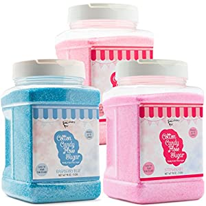 The Candery Cotton Candy Floss Sugar 3-Pack (Cherry , Strawberry, Raspberry Blue)