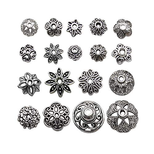 - Youdiyla Bulk 175 Floral Bead Caps Collection, Antique Silver Tone, Metal Beads Caps for Necklace and Bracelet Eardrop Beads Jewelry Making (HM274)