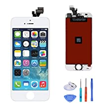 SANKA LCD Screen Replacement Touch Screen Display Digitizer Glass Frame Assembly with Repair Tool Kit for iPhone 5 - White