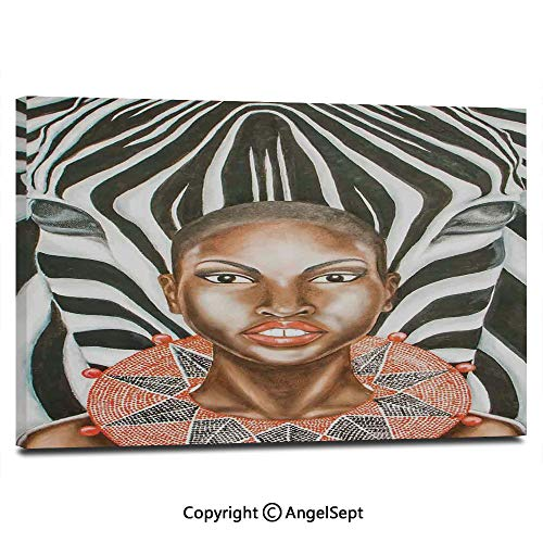 (Modern Gallery Wrapped African Woman with Zebra Spirit Animal Mother Nature Themed Artistic Image Pictures on Canvas Wall Art Ready to Hang for Living Room Kitchen Home Decor,12