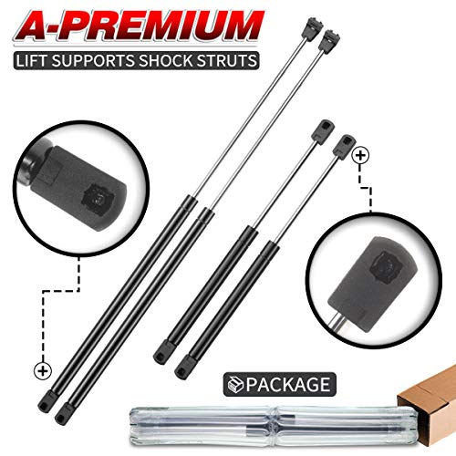 A-Premium Hood and Tailgate Rear Trunk Lift Supports Shock Struts for Chrysler Concorde 1998-2004 LHS 1999-2001 Sedan 4-PC Set