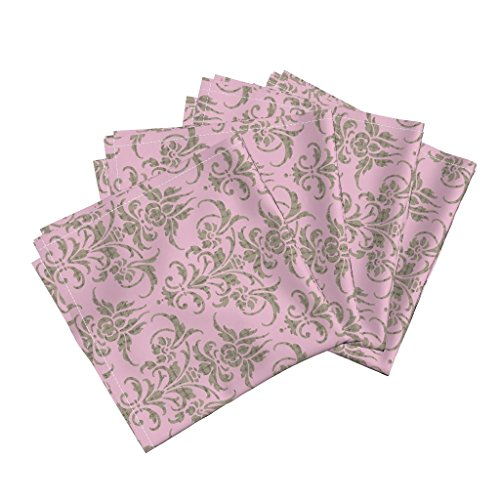 Roostery Pink Mauve Damask Eloise Linen Cotton Dinner Napkins The Lovely Eloise by Peacoquettedesigns Set of 4 Dinner Napkins - Eloise Cloths