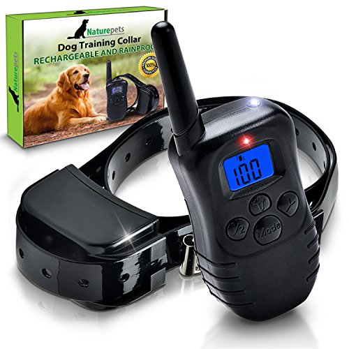 Naturepets Dog Shock Collar Rainproof with Remote Dog Training Collar - Safe and Effective Rechargeable and Rainproof Bark Shock Collar with LCD Screen and 100 Vibration and Shock Levels