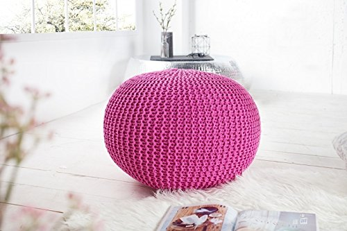 DuNord Design Hocker Sitzkissen Strickhocker Pouf BURLEY 50cm pink Strick Beistelltisch Ablage