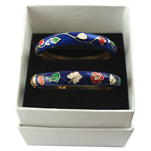 (UJOY Bracelets Colorful Enameled Cloisonne Jewelry Gold Cuff Hinged Handcrafted Bangle Sets Packed in Gift Box 55A61-A67 Butterfly Blue)