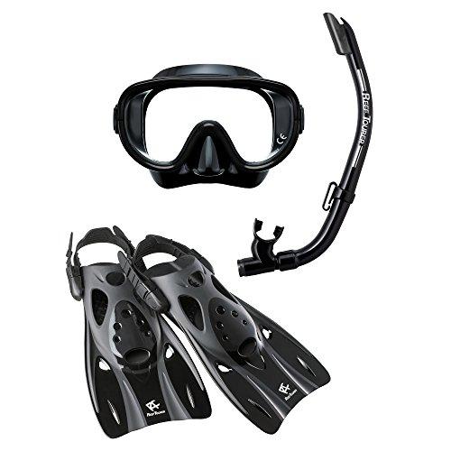 ReefTourer Adult Single-Window Mask, Snorkel & Fin Traveling Set