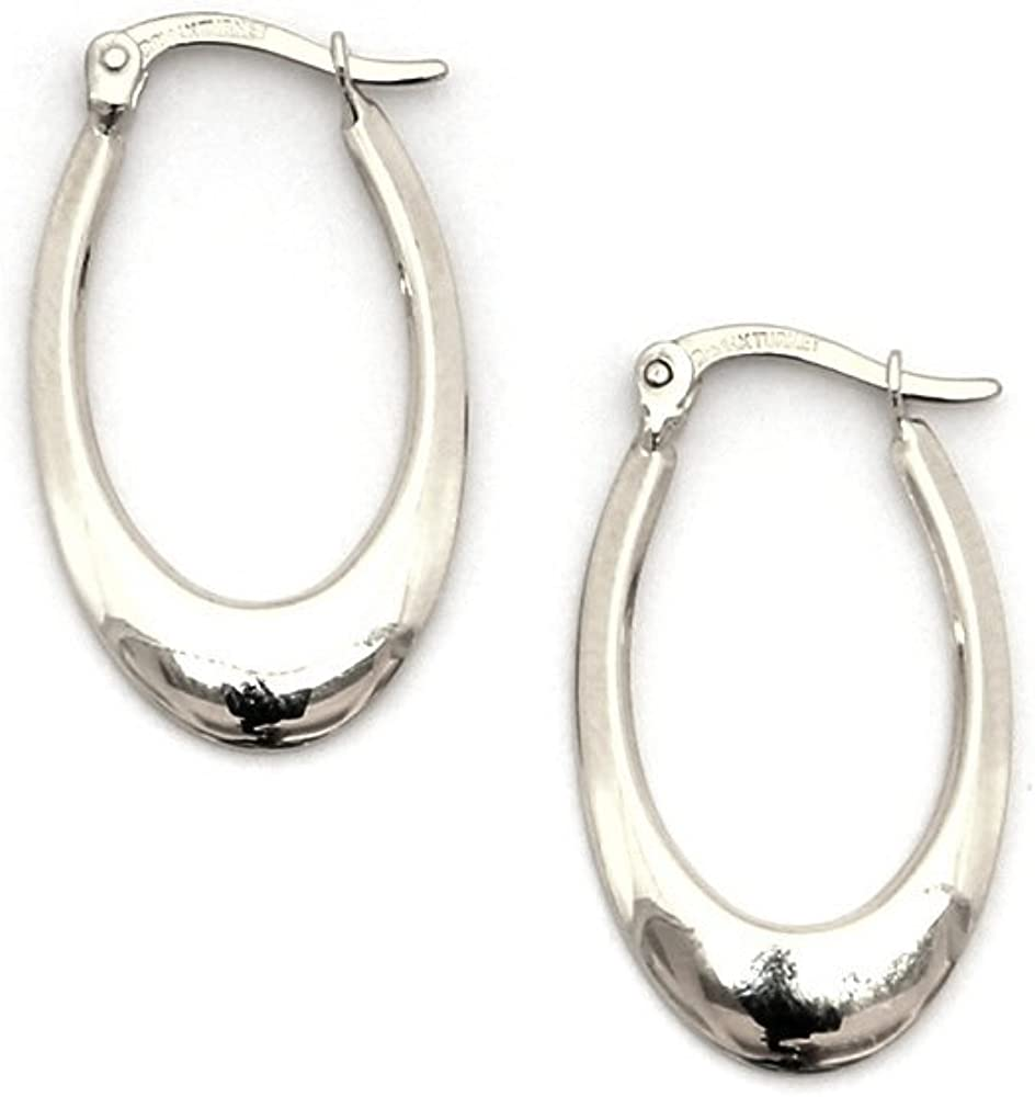 "14k Yellow or White Gold 1.6mm Polished Oval Hoop Earrings 1/"" 26mm"