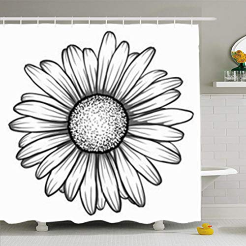 ArtsDecor Shower Curtains 72 x 72 Inches Beautiful Monochrome Black White Daisy Flower Isolated Waterproof Fabric Bathroom Home Decor Set Hooks
