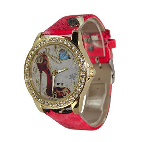 Inkach® Women Fashion High Heels Pattern Rhinestone Leather Band Analog Quartz Vogue Watches (Red)