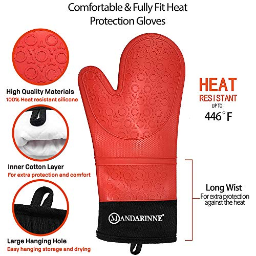 Mandarinne Silicone Oven Mitts and Apron Set  Heat Resistant Grill Mitts  ExtraLong Professional