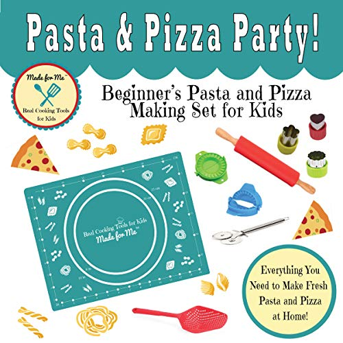 Pasta & Pizza Party - Beginner's Pasta and Pizza Making Set for Kids : A fun and educational gift, birthday holiday present! Real Cooking Tools & Baking Kits for Children!