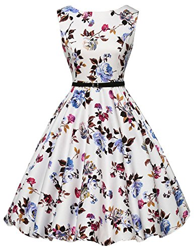 GRACE KARIN Pinup Flared Vintage Dress with Belt for Women Size S - Line Target Clothes