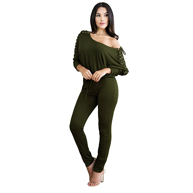 9e6e08d357574 Image Unavailable. Image not available for. Color: TIMEMEANS Womens  Jumpsuit Sexy Overalls Long Sleeve Rompers Summer Off Shoulder ...