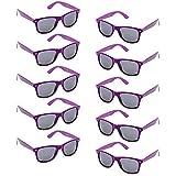 Oaonnea UV Protection Neon Colors 80's Retro Classic Party Favors Sunglasses (Purple)