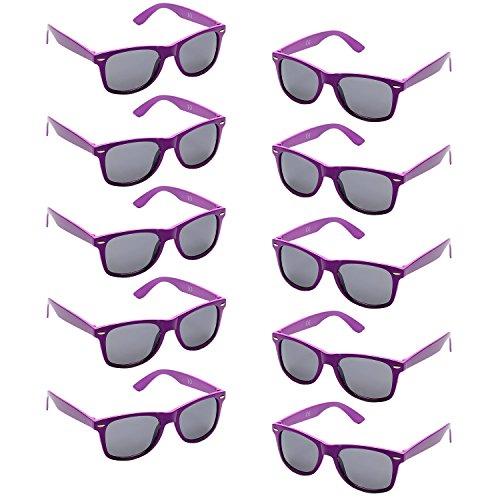 Oaonnea UV Protection Neon Colors 80's Retro Classic Party Favors Sunglasses (purple) -