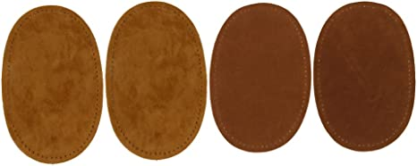 2PCS Suede Leather Iron-on Oval Elbow Knee Patches Repair Sewing Applique E C I