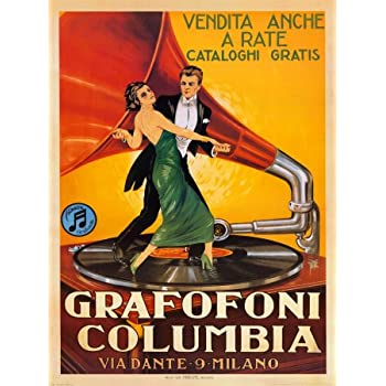 POSTER GRAFOFONI COLUMBIA COUPLE DANCING ON THE RECORD VINTAGE REPRO FREE S//H
